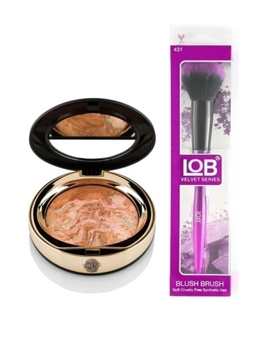 New Well Newwell Terracotta Porcelain Make-Up D-142 15 Gr+Lob Velvet Allık Fırçası Renkli